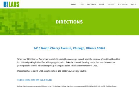 Screenshot of Maps & Directions Page uilabs.org - Directions Ń UI LABS - captured Dec. 15, 2015