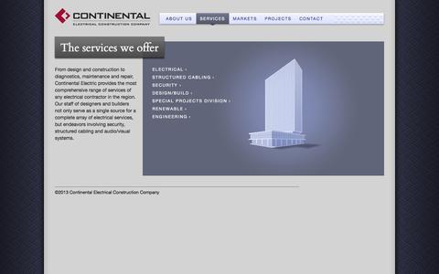 Screenshot of Services Page cecco.com - Services | Continental Electrical Construction Company - captured Oct. 3, 2014