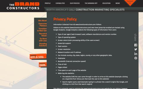Screenshot of Privacy Page brandconstructors.com - Privacy Policy - Brand Constructors - captured Feb. 20, 2016