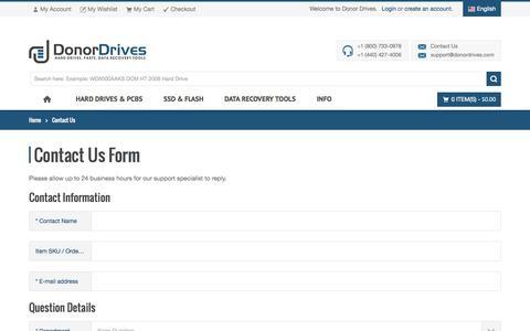 Screenshot of Contact Page donordrives.com - Contact Us - captured Nov. 2, 2014
