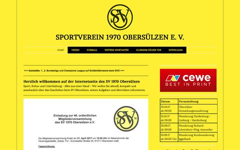 Screenshot of Home Page sv-obersuelzen.de - START - SV 1970 Obersülzen - captured March 31, 2017