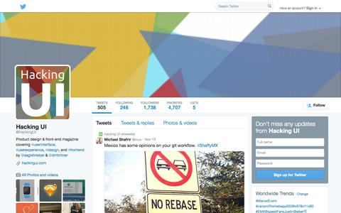 Screenshot of Twitter Page twitter.com - Hacking UI (@HackingUI) | Twitter - captured Oct. 28, 2014