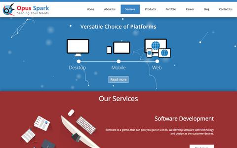 Screenshot of Services Page opusspark.com - Our Service | Opus Spark: A Software Development and Technology Research Company | Mobile Application Development in Trichy | Web Designing & Development Company in Trichy | Software development in Trichy | Software company in trichy - captured Jan. 11, 2016