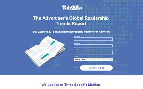 Screenshot of Landing Page taboola.com - Global Readership Report - captured June 17, 2017