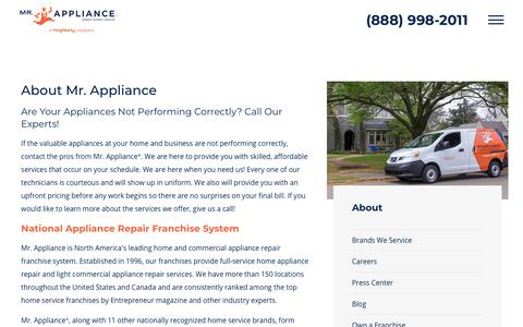 Screenshot of About Page mrappliance.com - About Mr. Appliance | Appliance Repair Franchise System - captured Dec. 12, 2018