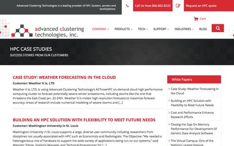 Screenshot of Case Studies Page advancedclustering.com - Success Stories Archive - Advanced Clustering Technologies - captured Feb. 22, 2017