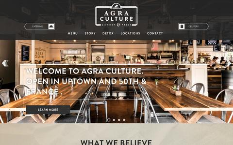 Screenshot of Home Page agra-culture.com - Agra Culture Kitchen & Press: Healthy Fast-Casual Food Minneapolis - captured Sept. 19, 2014