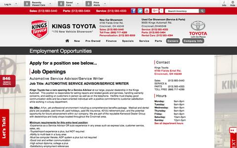 Screenshot of Jobs Page kingstoyota.com - Kings Toyota | New Inventory for sale in Cincinnati, OH 45249 - captured Feb. 12, 2016