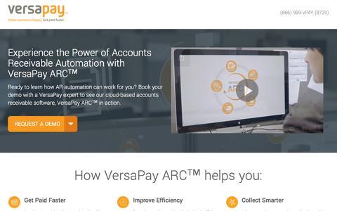 Screenshot of Landing Page versapay.com captured July 27, 2017