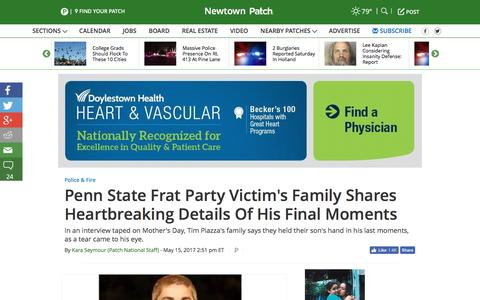 Screenshot of patch.com - Penn State Frat Party Victim's Family Shares Heartbreaking Details Of His Final Moments - Newtown, PA Patch - captured May 17, 2017