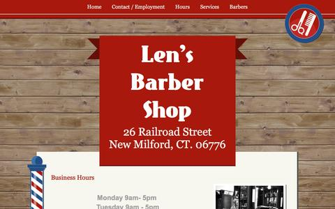 Screenshot of Hours Page lensbarbershop.com - Business Hours - captured May 18, 2017