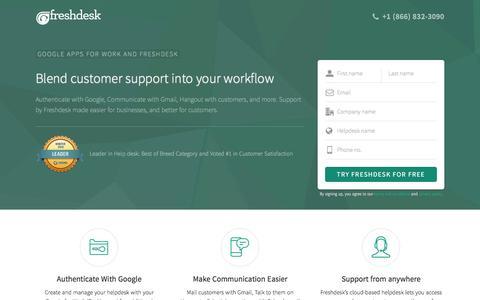 Screenshot of Landing Page freshdesk.com - Freshdesk - Google Apps for Work integration - captured Oct. 3, 2016