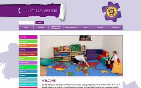 Screenshot of Home Page sportandplaybase.co.uk - Childrens Carpets | Giant Classroom Carpets | Pretend play | Sport and PlaybaseSport and Playbase | We manufacture material based learning products for leading retailers, wholesalers and distributors of education material worldwide. - captured Oct. 18, 2018