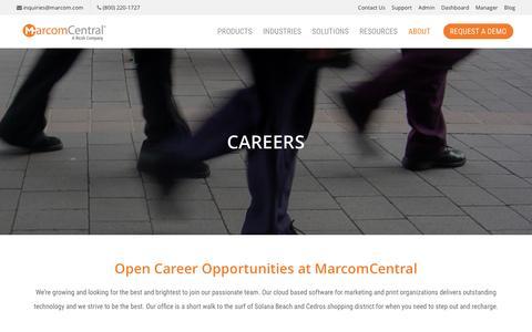Screenshot of Jobs Page marcom.com - Careers | MarcomCentral - captured Jan. 22, 2017