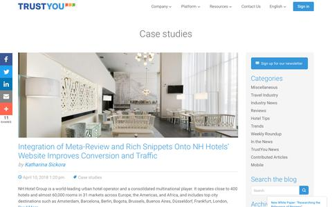 Screenshot of Case Studies Page trustyou.com - Case studies Archives · TrustYou Archive · TrustYou - captured May 8, 2018