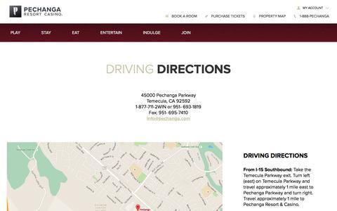 Screenshot of Maps & Directions Page pechanga.com - Driving Directions   Pechanga Resort & Casino - captured Nov. 11, 2017