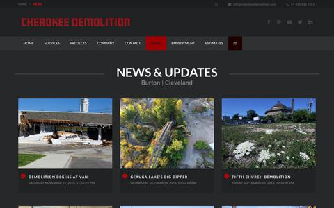 Screenshot of Press Page cherokeedemolition.com - NEWS & UPDATES   Demolition + Dry Bulk Transport + Asbestos + Excavation   Cleveland, Ohio - captured July 29, 2017