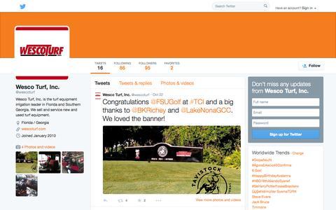 Screenshot of Twitter Page twitter.com - Wesco Turf, Inc. (@wescoturf) | Twitter - captured Oct. 25, 2014