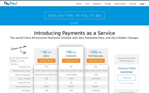 Screenshot of Pricing Page paystand.com - Pricing | PayStand - captured July 18, 2014