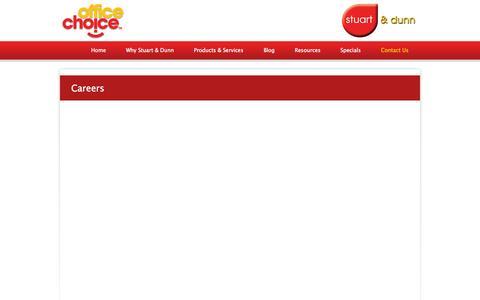 Screenshot of Jobs Page stuartanddunn.com.au - Careers - Newcastle, Hunter Valley, Central Coast | Stuart and Dunn Office Choice - captured Oct. 8, 2014