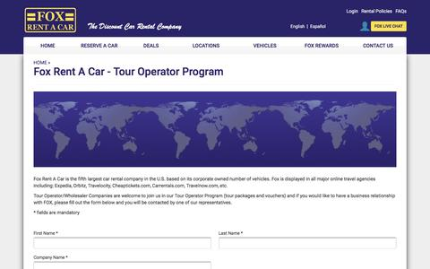 Fox Rent A Car - Tour Operator Program