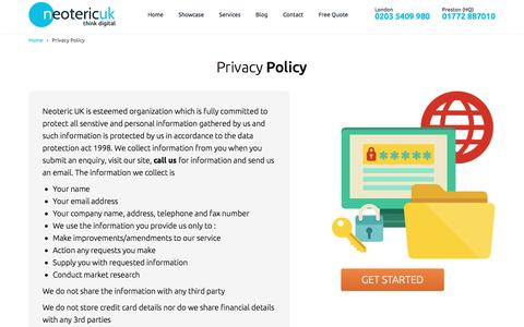 Screenshot of Privacy Page neotericuk.co.uk - Privacy Policy From Neoteric UK- Think Digital - captured Aug. 22, 2016