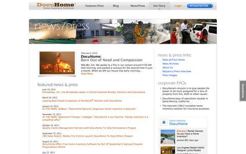 Screenshot of Press Page docuhome.com - News and Press : Home Inventory Software and Services | DocuHome.com - captured Sept. 30, 2014