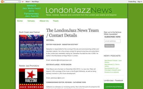 Screenshot of Team Page londonjazznews.com - LondonJazz: The LondonJazz News Team / Contact Details - captured Dec. 17, 2017