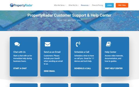 Screenshot of Support Page propertyradar.com - Support and Help Center - PropertyRadar - captured July 13, 2018