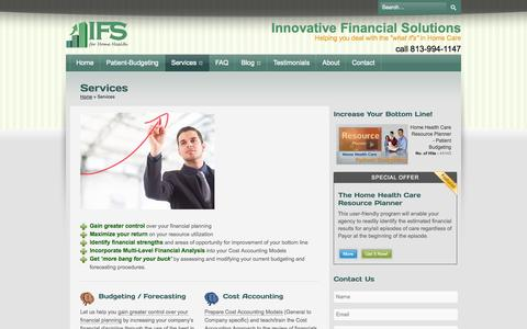 Screenshot of Services Page ifsforhomehealth.com - Services - Innovative Financial Solutions for Home Health Innovative Financial Solutions for Home Health - captured Oct. 1, 2014