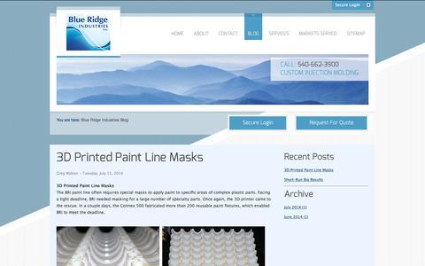 Screenshot of Blog blueridgeind.com - Blue Ridge Industries Blog - captured Nov. 22, 2016