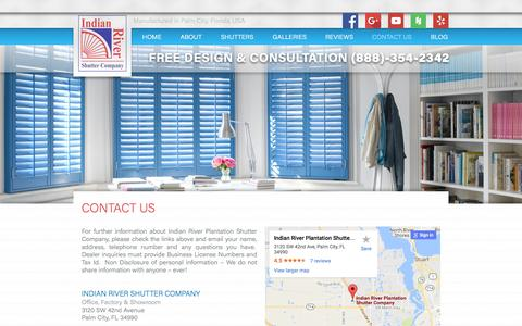Screenshot of Contact Page indianrivershutter.com - Contact the Indian River Shutter Company in Palm City - captured Nov. 18, 2016