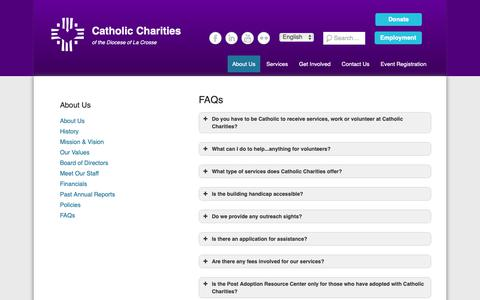 Screenshot of FAQ Page cclse.org - FAQs | Catholic Charities - captured Sept. 27, 2018