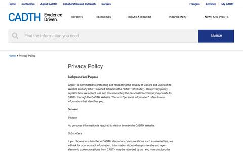 Screenshot of Privacy Page cadth.ca - Privacy Policy | CADTH.ca - captured Jan. 24, 2016