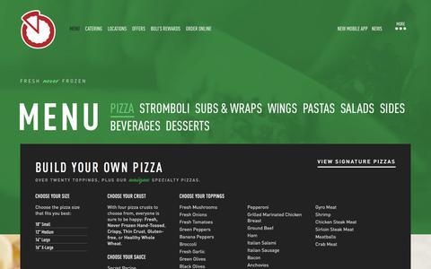 Screenshot of Menu Page pizzabolis.com - Pizza Menu | Speciality Pizza, Pizza Deals, Order Pizza - captured July 19, 2018