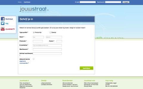 Screenshot of Signup Page jouwstraat.nl - Inschrijven - Jouwstraat, Kom in contact met je buren en straatgenoten - captured Oct. 6, 2014