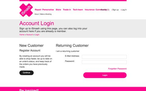 Screenshot of Login Page ismashlondon.com - Account | iSmash - captured Oct. 6, 2014