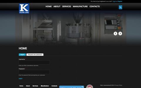Screenshot of Login Page kleinlabs.com - Home | Klein Laboratories - captured Oct. 1, 2014