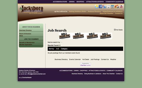 Screenshot of Jobs Page jacksborochamber.com - Job Search - Jacksboro Chamber of Commerce, TX - captured Nov. 26, 2016
