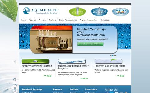 Screenshot of Home Page aquahealth.com - AquaHealth - Earth Friendly Bottled Water - captured Oct. 8, 2017