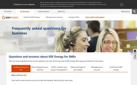 Screenshot of FAQ Page edfenergy.com - Frequently asked questions | Help and advice for SMEs | EDF Energy - captured May 19, 2019