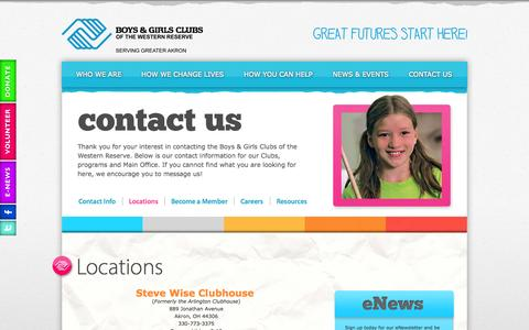 Screenshot of Locations Page wrkids.org - Locations - Boys & Girls Clubs of the Western Reserve - captured Oct. 5, 2014