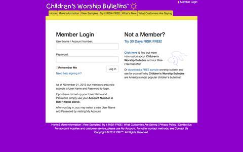 Screenshot of Login Page childrensbulletins.com - Worship for Kids   Bible Lessons for Children   Children's Worship Bulletins - captured June 29, 2017