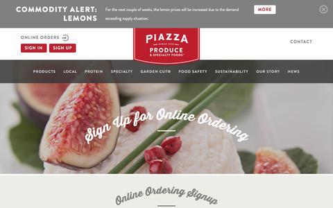 Screenshot of Signup Page piazzaproduce.com - Online Ordering Signup - Piazza Produce - captured July 18, 2018