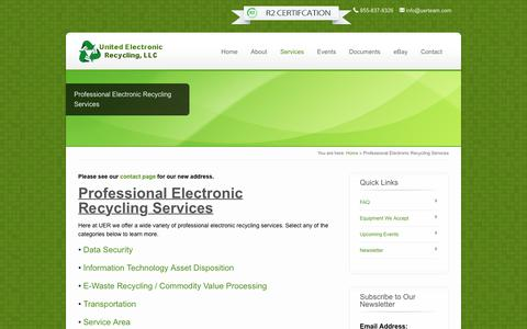 Screenshot of Services Page unitedelectronicrecycling.com - Professional Electronic Recycling Services - United Electronic Recycling - captured Feb. 23, 2016