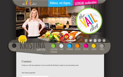 Screenshot of Contact Page thevaildiet.com - The Vail Diet - captured Oct. 9, 2014