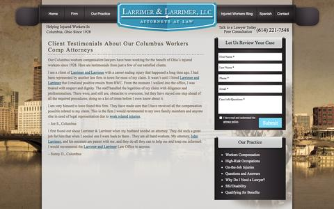 Screenshot of Testimonials Page larrimer.com - Client Testimonials About Our Columbus Workers Comp Attorneys - captured Oct. 1, 2014