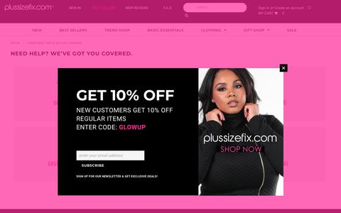 Screenshot of FAQ Page plussizefix.com - Need Help? We've Got You Covered. – Plussizefix - captured Oct. 2, 2018