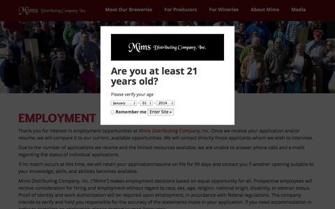 Screenshot of Jobs Page mimsdistributing.com - Employment - Mims DistributingMims Distributing - captured Nov. 3, 2014