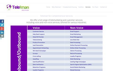 Screenshot of Services Page teleiman.com - Voice, Non-Voice, Email Support, Live Chat Services | Teleiman LLC - captured Feb. 24, 2016